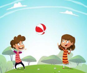 Happy kids with natural landscape vectors 04