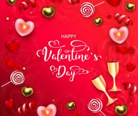 Happy valentines day red background vectors