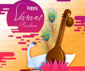 Happy vasant panchami festival design vector 01