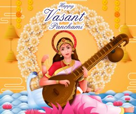 Happy vasant panchami festival design vector 02