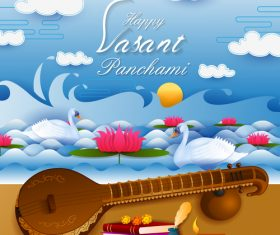 Happy vasant panchami festival design vector 04