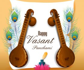 Happy vasant panchami festival design vector 05