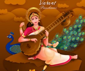 Happy vasant panchami festival design vector 06