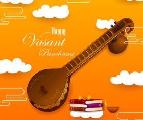 Happy vasant panchami festival design vector 07