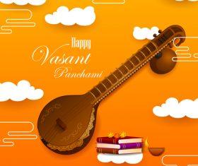Happy vasant panchami festival design vector 07