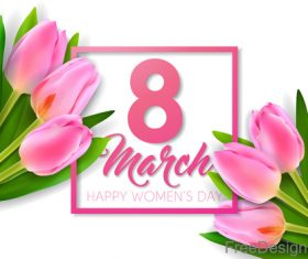 Happy women day background with lily flower vector
