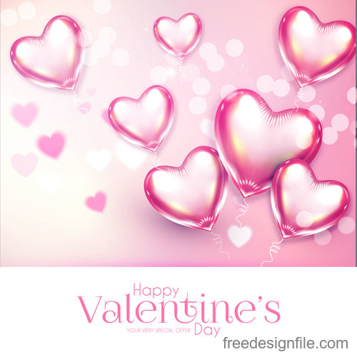 Heart air balloons with pink valentines day card vector 02
