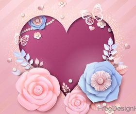 Heart shape with romantic valentine flower vector