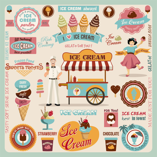 Ice cream badge with labels vintage design vector 02