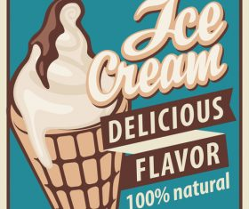 Ice cream discount poster vector 01