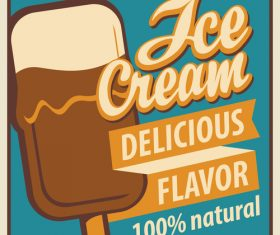 Ice cream discount poster vector 02