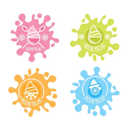 Ice cream labels illustration vectors