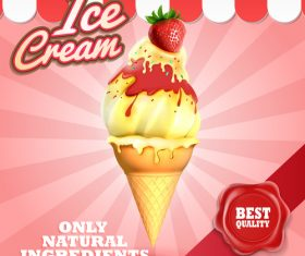 Ice cream vintage background vector