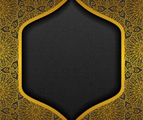 Islam golden decor background vectors set 06