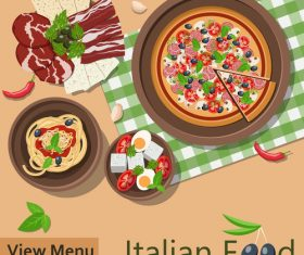 Italian food menu template vector