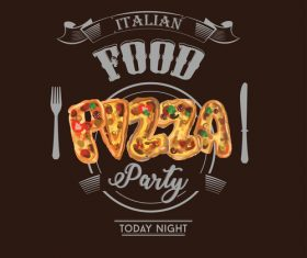 Italian pizza party poster template vector