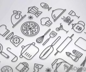 Kitchen and Cooking Lines PSD Icon