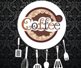 Kitchen utensils with coffee vector
