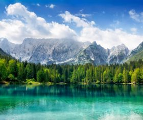 Lake nature landscape mountain forest Stock Photo 06