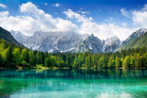 Lake nature landscape mountain forest Stock Photo 06