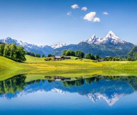 Lake nature landscape mountain forest Stock Photo 09