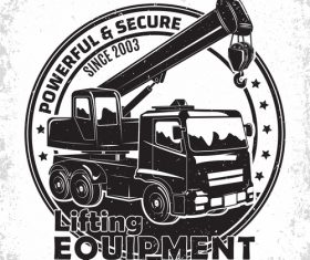 Lifting equipment emblem vintage vector 01