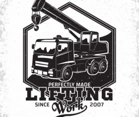 Lifting equipment emblem vintage vector 02