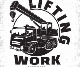 Lifting equipment emblem vintage vector 04