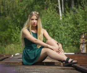 Long blond hair woman Stock Photo