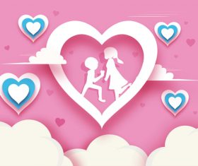 Lovers with heart valentines day background vector