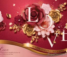 Luxury Valentines day flower card vectors