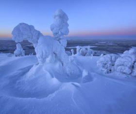 Magical snow scene Stock Photo