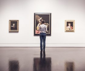 Man in Art Gallery Stock Photo
