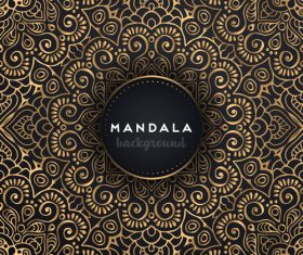 Mandala golden decor background vectors