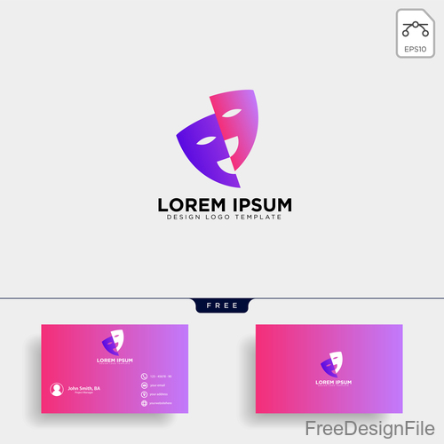 Mask logo and business card template vector 02