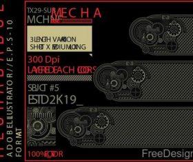Mechabadge gear frame vector design 06