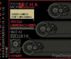 Mechabadge gear frame vector design 09