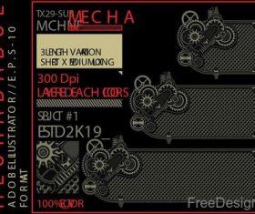 Mechabadge gear frame vector design 10