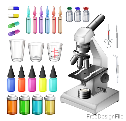 Microscope design vector set 06