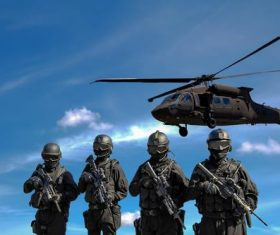 Military man with helicopter hovering in the air Stock Photo