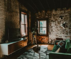 Modern furniture in an old house Stock Photo