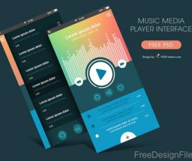 Music Media Player Interface PSD Template