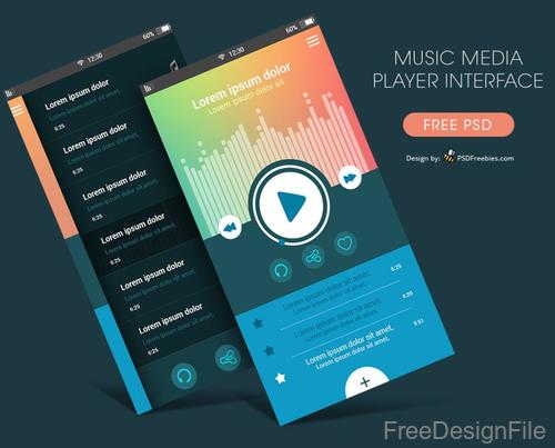 Music Media Player Interface PSD Template