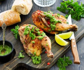 Mustard roasted chicken leg Stock Photo