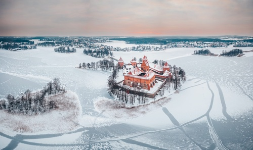 Nature landscape winter sonw trees castle Stock Photo