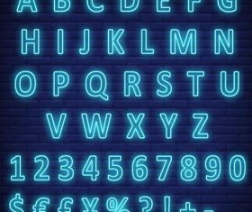 Neon blue alphabet and numbers with sign vector