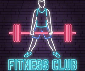 Neon fitness club sign design vector 01