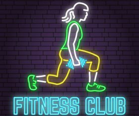 Neon fitness club sign design vector 02