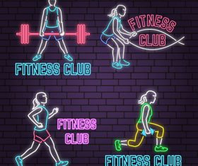 Neon fitness club sign design vector 03