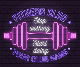 Neon fitness club sign design vector 04
